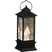 Roman 11 in. LED Lantern with Candles Inside Black with Gold Wash Base