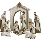 Roman 10 Pc. Ivory and Goldtone Nativity Set