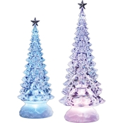 Roman Icy Crystal Illuminated Christmas Pine Tree and Star 12.5 in. Set of 2
