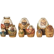 Roman Holy Family Three Kings & Shepherd Christmas Nativity Nesting Dolls Set of 9