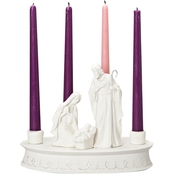 Roman 7.5 in. Porcelain Holy Family Advent Wreath Christmas Taper Candle Holder