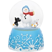 Roman Aqua Blue Snowman Rotating Musical Glitter Dome Plays