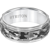 Triton Black and White Camo Tungsten Band