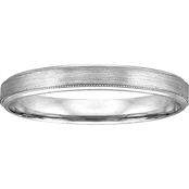 14K White Gold Engraved 4mm Band