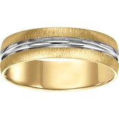 14K Two Tone Gold Engraved 6mm Wedding Band