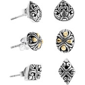 Robert Manse Designs Sterling Silver Bali 18K Set of 3 Stud Earrings