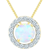 14K Yellow Gold Over Sterling Silver Lab Created Opal Pendant