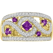 14K Yellow Gold Over Sterling Silver Amethyst and Lab Created White Sapphire Ring