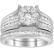 14K White Gold 2 CTW Diamond Cluster Bridal Ring Set