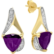 14K Gold Over Sterling Silver Amethyst with Diamond Accent Trillion Cut Earrings