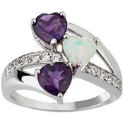 Sterling Silver Amethyst and Created Opal Ring