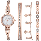 Anne Klein Women's Crystal Accented Watch and Bracelet Set AK/3082RGST