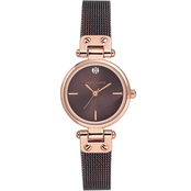 Anne Klein Women's Swarovski Accent Rose Gold Brown Leather Watch AK3003RGBN
