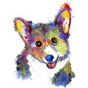 PTM Images Happy Corgi Dog Face Decorative Canvas Print Wall Art