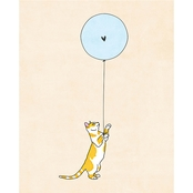 PTM Images Cat and Blue Balloon Decorative Plaque Wall Art