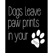 PTM Images Dogs Leave Paw Prints in Your Heart Decorative Plaque Wall Art