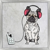 PTM Images Dog on Stereo Decorative Framed Art