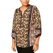 Style & Co. Plus Size Cotton Mixed Print Peasant Top