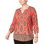 Style & Co Plus Size Cotton Mixed Print Peasant Top