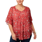 Style & Co. Plus Size Printed Pintuck Ruffle Blouse