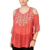 Style & Co. Plus Size Printed Cold Shoulder Ruffled Top