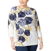 Charter Club Plus Size Printed Boat Neck Top