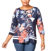Charter Club Plus Size Printed Split Neck Top