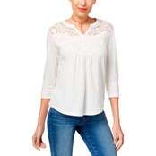 Style & Co. Petite Embroidered Illusion Henley