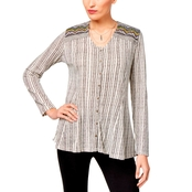 Style & Co. Petite Cotton Embellished Jacquard Button-Front Top