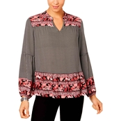 Style & Co. Petite Mixed-Print Top