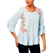 Style & Co Petite Floral-Embroidered Peplum Top