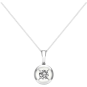Magnificence 10K White Gold Diamond Accent Round High Polished Bezel Pendant