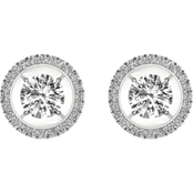 Magnificence 10K White Gold 1/3 CTW Round Diamond Halo Earrings