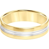 14K Two Tone Gold 6mm Men's Engraved Wedding Band