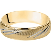 14K Two-Tone Gold 6mm Men's Engraved Wedding Band