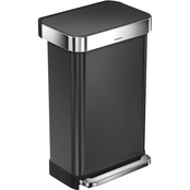 simplehuman 12 gal. (45 L) Rectangular Black Stainless Steel Step Can