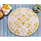 Saffron Fabs Damask 36 In. Round Cotton Bath Rug