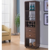 Furniture of America Aldy Double Drawer Standing Wine Rack