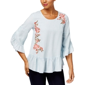 Style & Co. Floral Embroidered Peplum Top