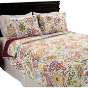 Lavish Home Trista Cotton Quilt Set