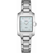 Seiko Women's Rectangular Diamond Accent Solar Watch 24mm SUP37