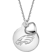 Sterling Silver NFL Philadelphia Eagles Disk Pendant With Dangling Puffed Heart