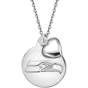 Sterling Silver NFL Seattle Seahawks Disk Pendant With Dangling Puffed Heart