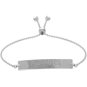 Sterling Silver NFL New England Patriots Adjustable Bar Bracelet