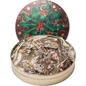 Naper Nuts & Sweets Boughs of Holly Gift Tin With Peppermint Bark