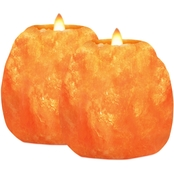 Himalayan Glow Natural Salt Candle Holder 2 Pc. Set