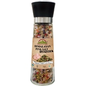 Himalayan Chef Pink Salt and Rainbow Peppercorn in Refillable Glass Grinder