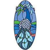 Design Toscano Majestic Peacock Oval Stained Glass Window