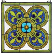 Design Toscano Fleur de Lis Quatrefoil Stained Glass Window