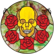 Design Toscano Beauty and Decay Gothic Skull Stained Glass Window